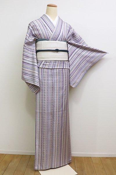 銀座【A-2835】(S)単衣 浮織 紬 白藤色 多彩な竪縞