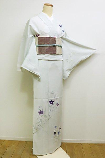あおき【B-2234】絽 付下げ 淡い白緑色 秋草の図(しつけ付)(N)