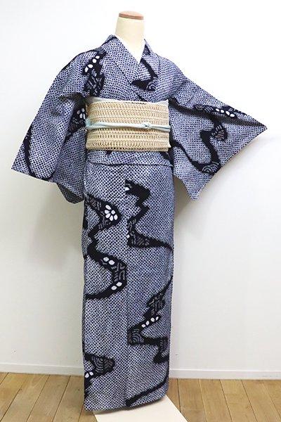 WEB限定【D-2257】(S)木綿 絞り染め 浴衣 濃藍色 流水文