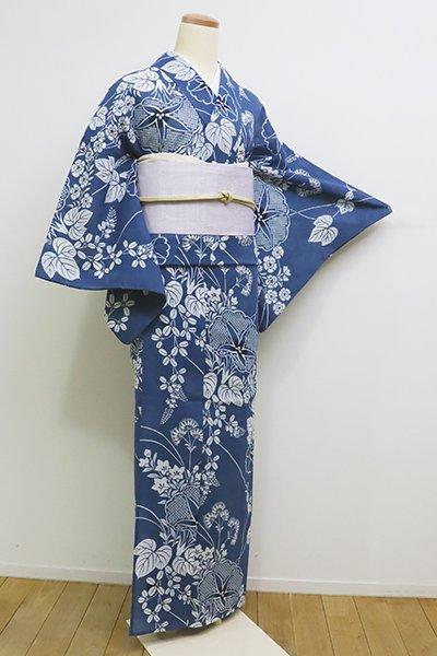 銀座【D-2258】(細め)竺仙製 綿紅梅 浴衣 藍色 朝顔に秋草