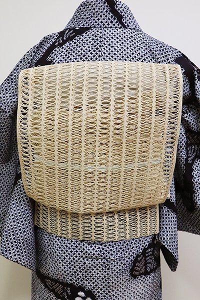 銀座【K-6114】夏 捩り織り 八寸名古屋帯 丁子色 無地 (未使用)