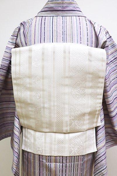 銀座【K-6116】夏 博多織 開き八寸名古屋帯 練色 縞に割付文など