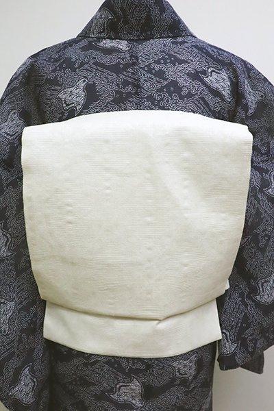 銀座【K-6117】麻地 織名古屋帯 生成り色 斜め格子の地紋