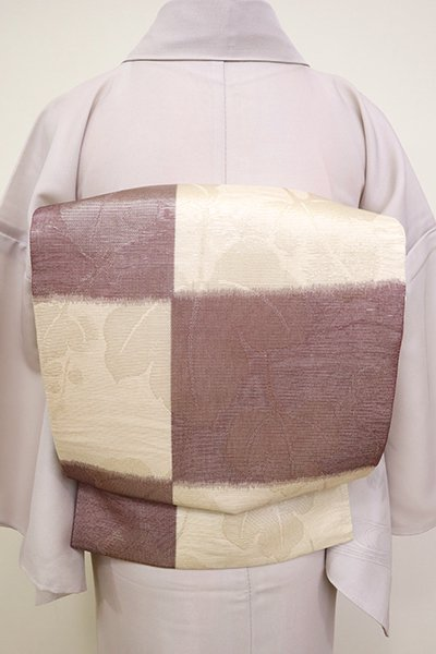 WEB限定【L-4522】紗 袋帯 淡い薄卵色×紫鳶色 市松に蔦の図