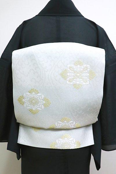銀座【L-4523】西陣製 夏 袋帯 藍白色×白色 波立涌に花菱文(証紙付)(N)