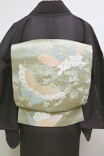 銀座【L-4524】絽 袋帯 薄青色 松皮菱に蝶々の図