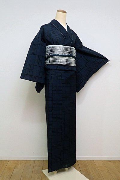 銀座【A-2838】紗紬 濃藍色 角繋ぎ文