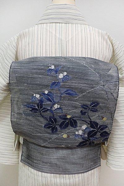 銀座【K-6118】粗紗 八寸名古屋帯 墨色 露草に蛍の図