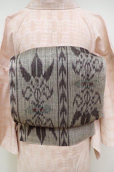銀座【K-6119】夏紬地 織八寸名古屋帯 潤色×赤墨色 上代風文様(長尺)