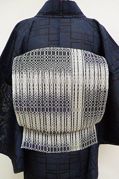 銀座【K-6122】捩り織り 夏八寸名古屋帯 白鼠色×留紺色 変わり段