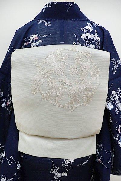 銀座【K-6124】絽 刺繍 名古屋帯 胡粉色 秋草の丸文