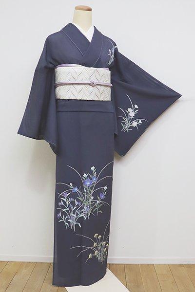 あおき【B-2237】絽 付下げ 淡い藍鉄色 秋草の図(しつけ付)(N)