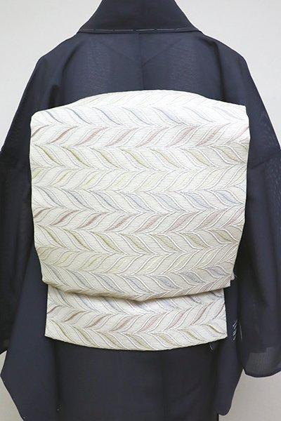 銀座【L-4526】西陣製 絽 袋帯 白練色 抽象文(証紙付)(N)