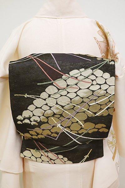 銀座【L-4527】絽 袋帯 黒色 松葉の図