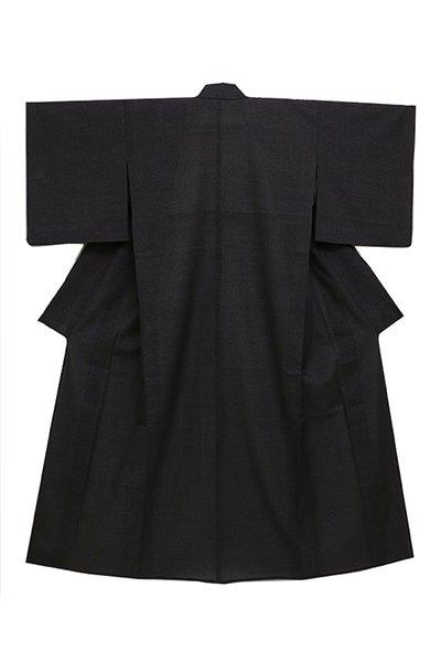 銀座【着物2496】白たか織 黒色 蚊絣 (証紙付)