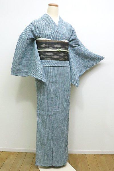 銀座【A-2841】(S)近江ちぢみ 白色×新橋色 小格子(反端付)