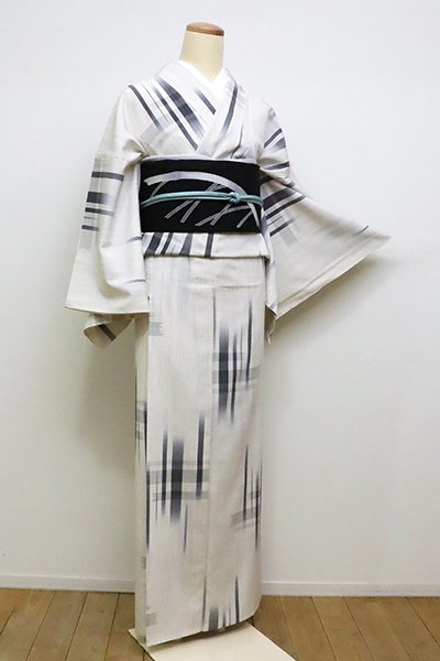 あおき【A-2842】(広め)単衣 塩沢絣 白色×墨色 大らかな絣文(しつけ付・反端付)