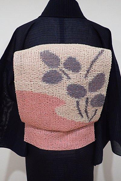 あおき【K-6127】粗紗 八寸名古屋帯 練色×紅梅色 おおらかな植物の図