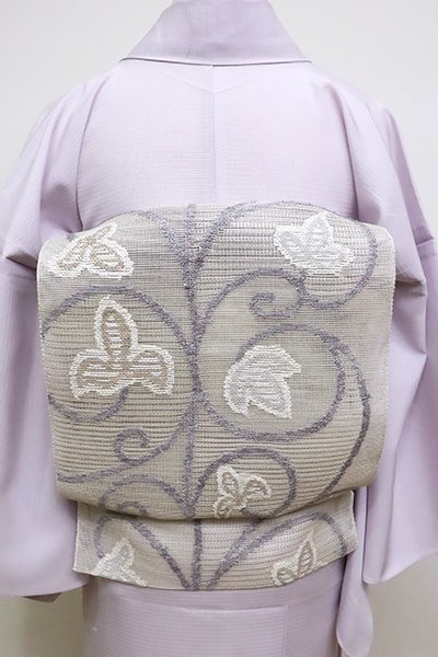 銀座【K-6129】粗紗 八寸名古屋帯 素色 蔦唐草文