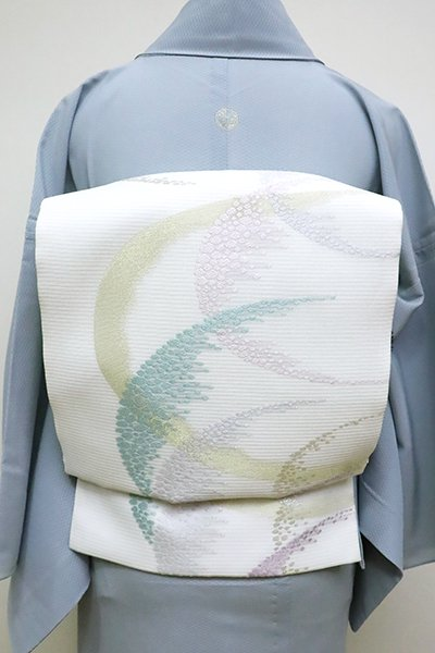 あおき【L-4528】西陣製 夏 袋帯 白色 抽象文(証紙付)(N)