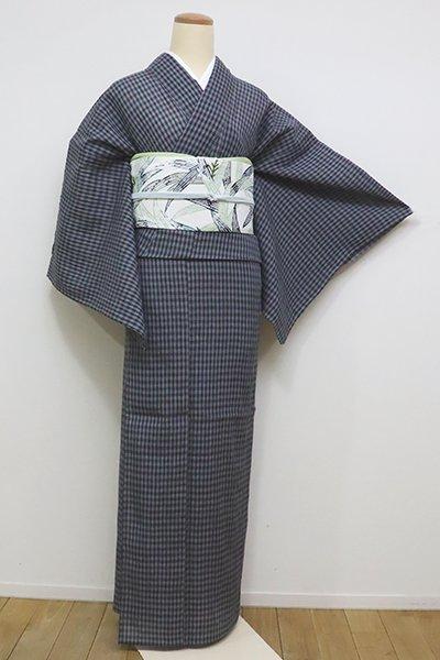 銀座【A-2843】小千谷縮 薄花色×墨色 格子(しつけ付・証紙付)(N)