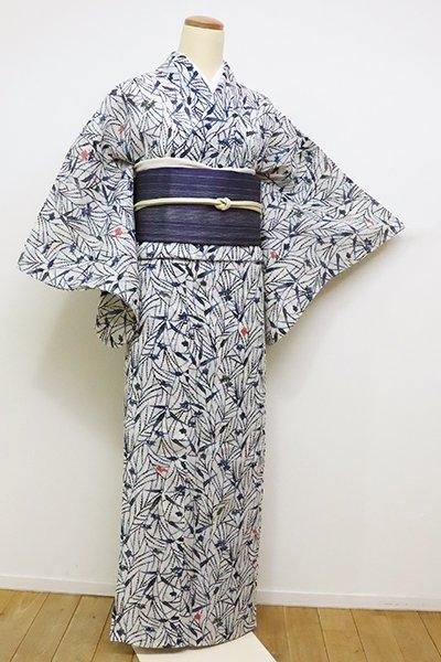 銀座【D-2268】(S)絽麻 型絵染 小紋 白色×藍色 芒や秋草の図