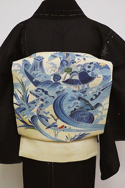 あおき【K-6135】生平麻地 染名古屋帯 砥粉色 波に舟の図