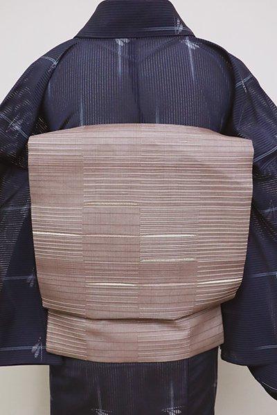 あおき【K-6136】紗 織名古屋帯 赤みの胡桃染色 幾何文