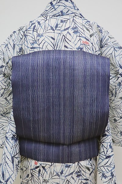 銀座【K-6137】夏 織名古屋帯 紺色 細縞