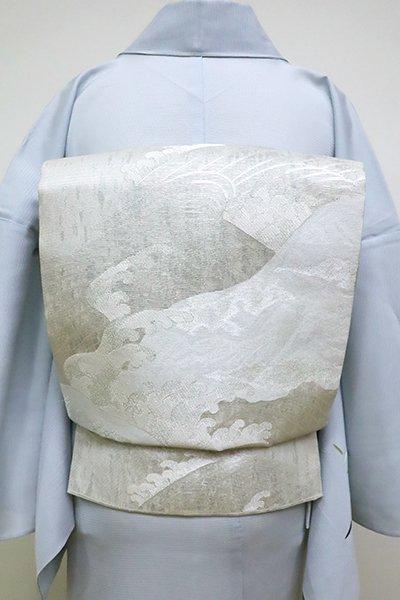 銀座【L-4530】絽 袋帯 銀色 波の図