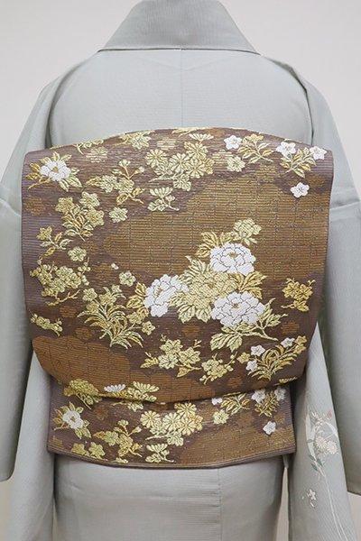 銀座【L-4531】絽 袋帯 胡桃染色×金色 雲に四季花の図