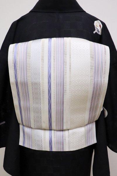 あおき【K-6138】本場筑前博多織 紗 八寸名古屋帯 白色×藤色 縞に装飾文(証紙付)(N)