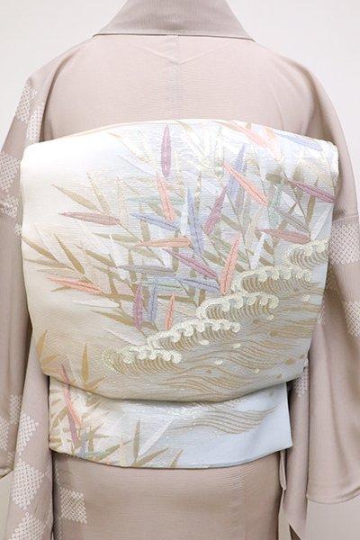 銀座【L-4533】絽 袋帯 生成り色×水色 波に葦の図