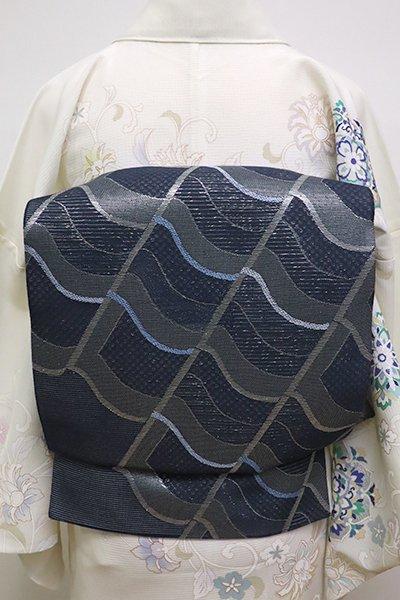 あおき【L-4534】絽 袋帯 藍鉄色 瓦文