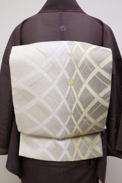 銀座【L-4535】夏 袋帯 白練色 装飾文