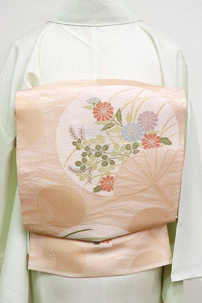 あおき【L-4536】紗 袋帯 淡い一斤染色 秋草の団扇文