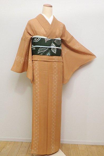 銀座【D-2271】(細め)紗 小紋 赤朽葉色 麻の葉の縞
