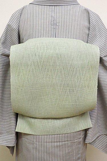 あおき【K-6144】捩り織り 八寸名古屋帯 淡い山葵色 菱文