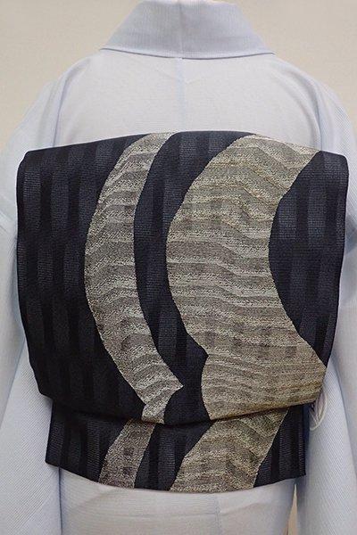 あおき【L-4537】絽 袋帯 藍墨茶色 流線の図