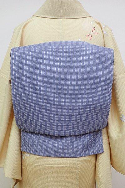 銀座【L-4538】絽 袋帯 紅掛空色 幾何文