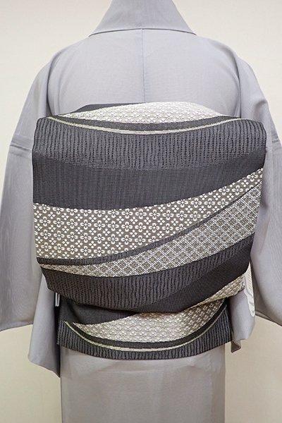 銀座【L-4539】夏袋帯 墨色 割付文の段