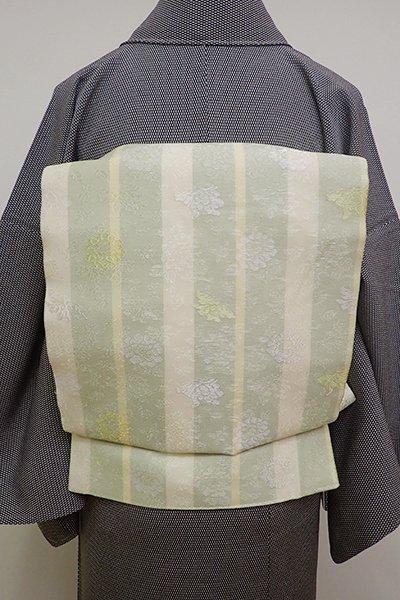 銀座【L-4540】西陣あらいそ製 紗 袋帯 抹茶色 牡丹唐草に蝶(落款入)