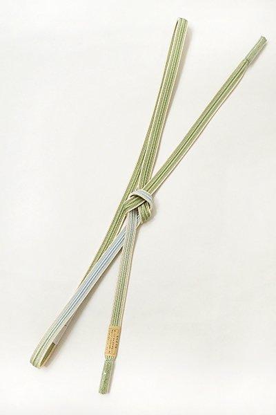 銀座【G-1292】京都 衿秀 帯締め 畝打組 若葉色×白藍色 二色暈かし (新品)