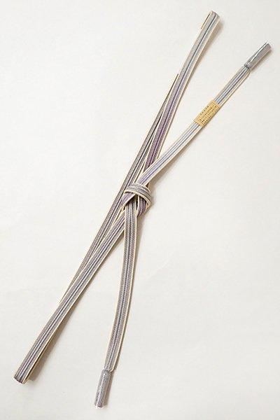 銀座【G-1293】京都 衿秀 帯締め 畝打組 牡丹鼠色×半色 二色暈かし(新品)
