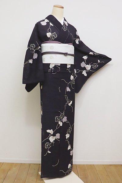 銀座【D-2276】絽小紋 紫黒色 山葡萄の図 (しつけ付) (N)