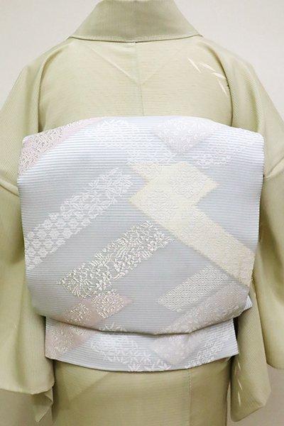 銀座【L-4541】西陣製 夏 袋帯 月白色 網代崩し(証紙付)(N)