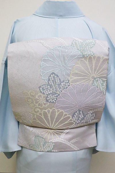 あおき【L-4542】絽 袋帯 白梅鼠色 波に菊の図(三越扱い)