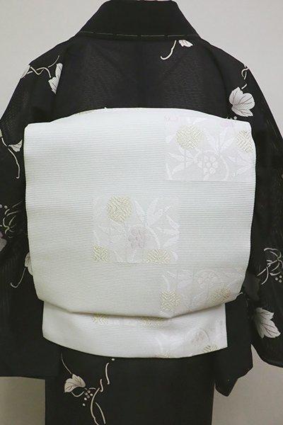 銀座【L-4543】絽袋帯 白花色 源氏香に笹蔓文
