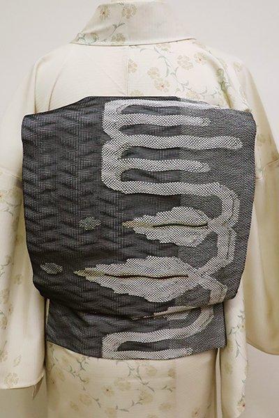 あおき【L-4544】紗袋帯 黒色 蔓葉装飾文