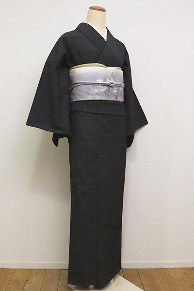 銀座【A-2847】(S・広め)単衣 本塩沢 黒色 熨斗文(反端付)